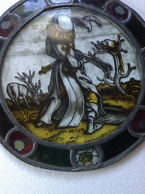 Antique Leaded Stained and Handpainted round Glass Window with Figure.  Signed