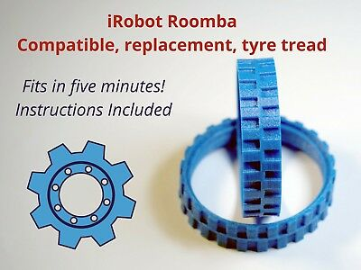 iRobot Roomba: Two (2) Replacement Wheel Tyre Treads. UK made. Free P&P