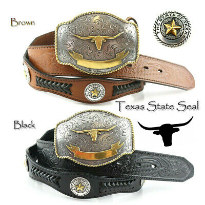 State of TEXAS LONGHORN WESTERN Style GENUINE LEATHER COWBOY CONCHO BELT