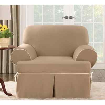 New Sure Fit Contrast Cord Cotton Duck T Cushion Chair Slipcover Natural Cocoa
