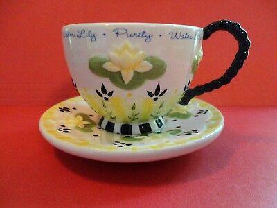 Mary Engelbreit Water Lily Cup & Saucer Set Yellow Green Black Floral Sweet!