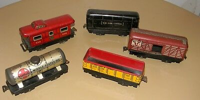 Vtg Marx Tin Litho O Scale Train Car Lot Of 5 Tanker Caboose Cattle Car Freight