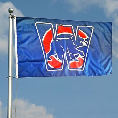 4e3aa2780eb Chicago Cubs Team Logo Blue Win W Flag 3x5 foot Deluxe Indoor Outdoor MLB  Banner