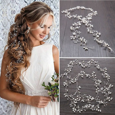 35cm Pearl Wedding Hair Vine Crystal Bridal Accessories Diamante Headbands Hot