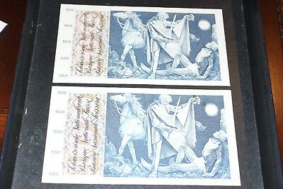 Switzerland 100 Francs Consecutive Numbers 2Pcs