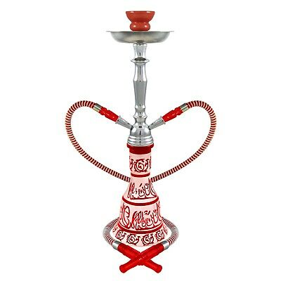 "20"" Hieros Red 2 Hose Junior Hookah Shisha Hooka Shisha Pipe Glass + BONUS"