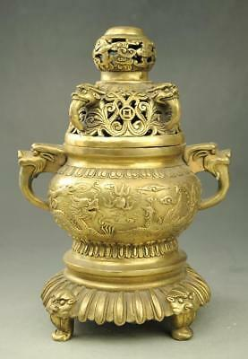 chinese old copper hand engraving dragon and phoenix incense burner censer e02