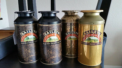 "Baileys The Original Irish Cream 10"" set of 4 Metal Milk Tin Can 750ml"
