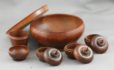 Very Fine Antique Thai Rosewood Hand Crafted Miniature Betel Nut Set