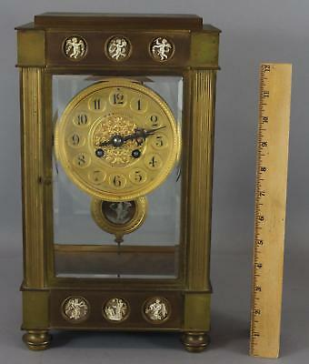 RARE Antique Charles Hour French Crystal Regulator Clock w/ Carved Shell Cameos