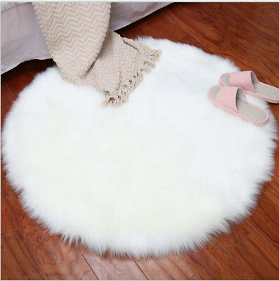 Round Fluffy Mat Room Faux Fur Sheepskin Non Slip Floor Rugs Washable Carpets