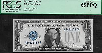 KEY 1928C PCGS 65 PPQ Funny Back ONE DOLLAR $1 Silver Certificate Fr1603 3608
