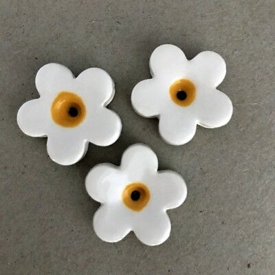 23mm CERAMIC FLOWERS (x3) - White ~ Ceramic Mosaic Tiles