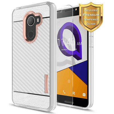 For T-Mobile REVVL/Alcatel A30 Fierce Shockproof Armor Case Cover+Tempered Glass
