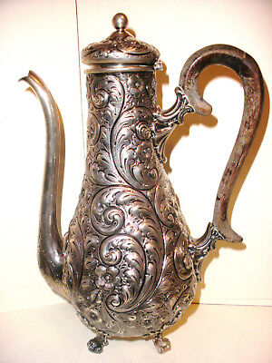 Antique Gorham sterling silver repousse floral tea coffee chocolate 3 pc set