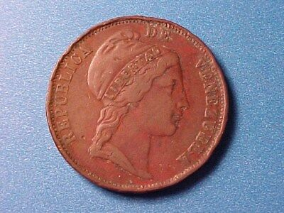 Venezuela 1 Centavo 1852 (London) Nice Detail (Rim Issue)