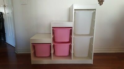 IKEA Trofast  storage - White and Pink with 5 tubs