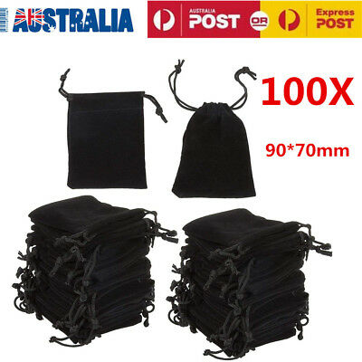 100X Black Velvet Jewellery Drawstring Wedding Party Pouch Gift Bag Candy Purse