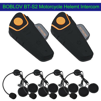BOBLOV BT-S2 Motorcycle 1KM Intercom Radio Wireless BT Headset Riding Wireless