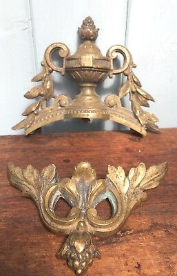 Antique French Brass Clock Parts Ornaments Fittings Round Frame Mirror Gold Urn