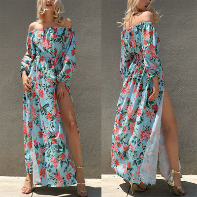 Canis Womens Floral Long Maxi Dress Long Sleeve Party Off Shoulder