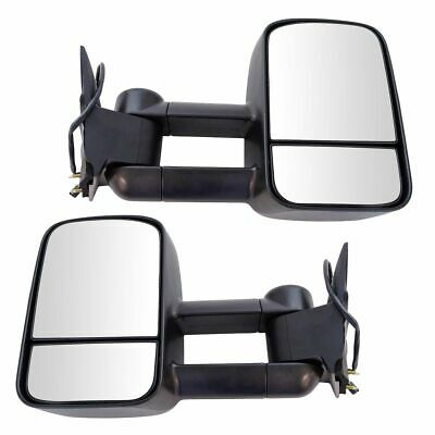 Towing Mirror Power Textured Black Pair Set for Chevy GMC C/K Pickup Truck SUV