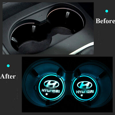 2Pcs LED Colorful Car Cup Mat for Hyundai Auto Interior Atmosphere Light 2X Pads