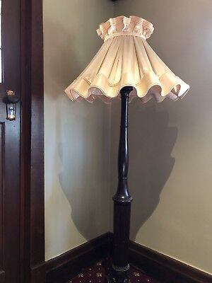 Antique Carved Mahogany Standard / Floor Lamp In Working Order