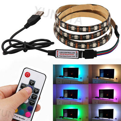 5m 1m 5V 5050 RGB LED Strip Light Colour Changing USB TV PC Back Mood Lighting