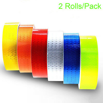 2 Rolls Safety Caution Reflective Tape Warning Tape Sticker self adhesive tape