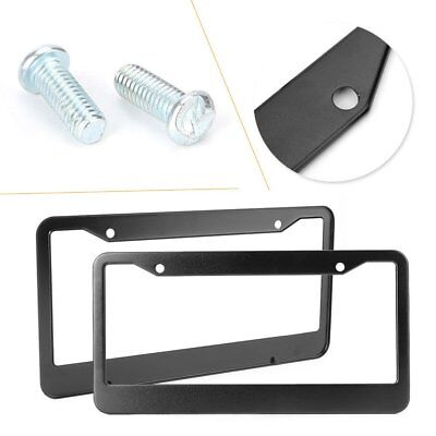 2pcs Aluminum Alloy Car License Plate Frame Tag Cover Holder With Screw Caps NP