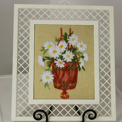 Finished 1970s Framed Crewel Macrame Plant Hanger Daisies Lattice Work Frame