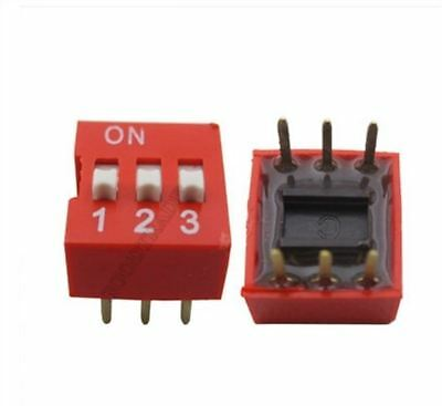 50Pcs Red 2.54MM Pitch 3-Bit 3 Positions Ways Slide Type Dip Switch US Stock m