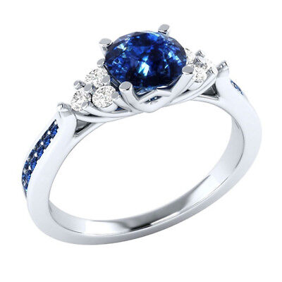NEW Women 925 Sliver Plated Sapphire Engagement Ring Party Jewelry Gift AU