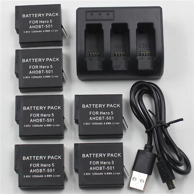 AHDBT-501 Battery For GoPro Hero 7 6 HERO6 / Hero 5 Black +3 Channel Charger