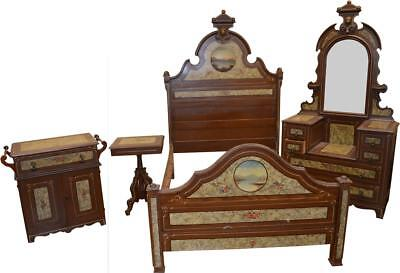 18244 Antique Victorian Hand Decorated Painted Scenic Bedroom Set