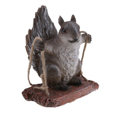 Garden Grey Squirrel Statue Resin Outdoor Decor Patio Lawn Yard Ornament