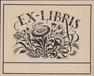 Vintage decorative bookplate flowers blank for personal use Ex-Libris  AK.472