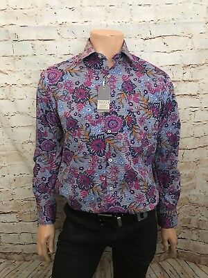 BNWT Rocola Luxury Casual Shirt Cotton All Sizes Blue Floral Design