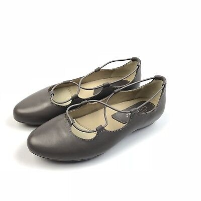 2ba17431df5b Earthies By Earth Essen Smoke Gray Leather Ghillie Ballet Flats Slip on  Shoes 7