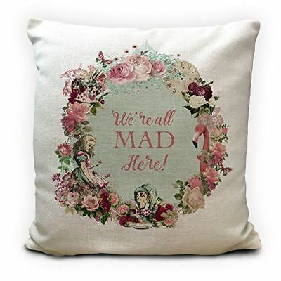 ALICE IN WONDERLAND Cushion Cover - Vintage Style Gift Were All Mad Here 16 inch