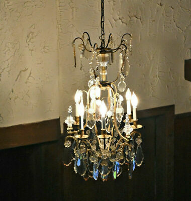 """Stunning 3-Tiered Antique French Crystal Chandelier, 71 Crystals, 31"""" Works"""