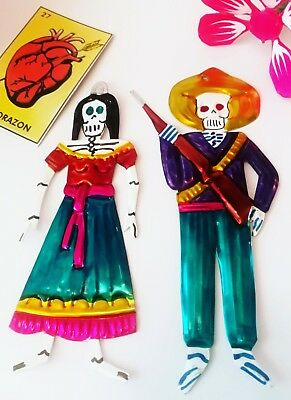Mexican Tin Skeleton Couple Authentic Day of the Dead Folk Art