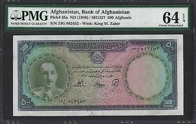 Afghanistan P-35a ND (1948) 1327 PMG Choice UNC 64 EPQ 500 Afghanis  RARE