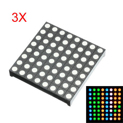 3Pcs Three-color Common Anode RGB LED Dot Matrix Display Module Compatible Color