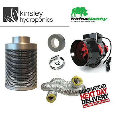 Rhino Hobby Mixed Flo Fan Acoustic Ducting Carbon Filter Kit Hydroponics