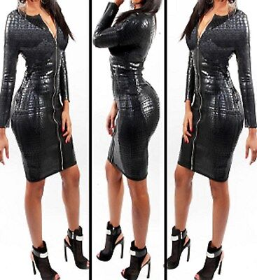 Latex Look Sexy Black Dress Zipper Front Long Sleeves