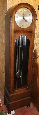1960s 3 Weight Oak Cased Grandfather Clock - Working