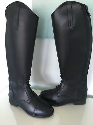 horse riding boots black long zip up lace front brouge show boots worn once