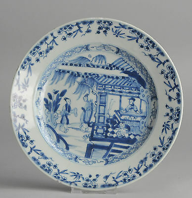 Beautiful 18C B&W Chinese Porcelain Plate 'Figures in Garden/Pagode' Antique